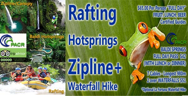 Zipline, Rafting and Hotsprinsg Package with PACR